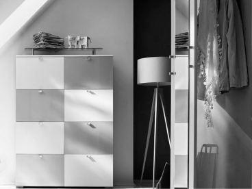 Wittenbreder Multi Color Una 421 Schuh Klappschrank Schuhschrank Mit Spiegel Garderobe Schrank In Korpus Weiss Front Hochglanz