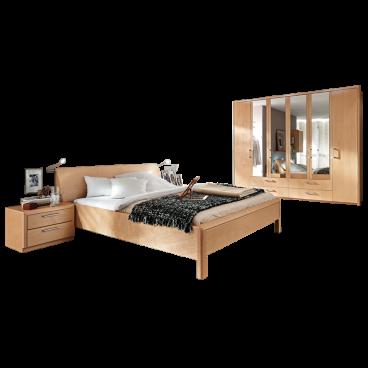 Disselkamp Coretta Schlafzimmer Bett Nachtkonsolen Drehtürenschrank