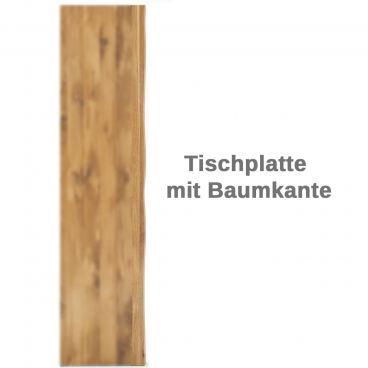 Elfo Möbel Tim Esstisch mit keilgezinkter Holzplatte in wählbarer Holzart mit Baumkante und Metallgestell Tisch in verschiedenen Größen für Ihr