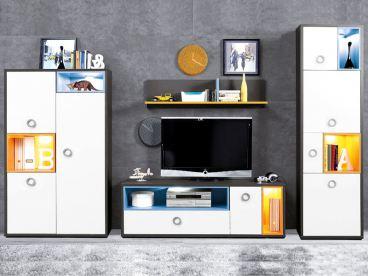 Kostenlose Lieferung Ins Deutsche Festland FORTE Colors Wohnwand Für  Jugendzimmer 4 Teilig Mit Schrank Regal TV Unterteil Und Wandboard