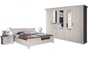 Kostenlose Lieferung Ins Deutsche Festland FORTE Kashmir Schlafzimmer  4 Teiliges Set Mit Bett Ca. 180x200cm Kleiderschrank Und Zwei Nachttischen