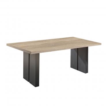 Mäusbacher The Big System Esstisch mit rechteckiger Tischplatte und Stollen in Schwarzstahl Dekor Tisch ohne Auszug mit wählbarer Größe Farbausführung