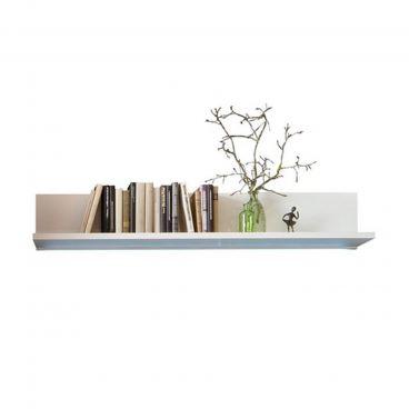 MCA Furniture Livorno LIV99T50 Wandboard für Ihr Wohnzimmer Hochglanz weiß  tiefzieh Nachbildung mit Absetzung Wotan Eiche