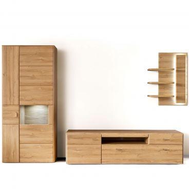 Mca Furniture Florenz Wohnkombination 3 Fur Ihr Wohnzimmer 3 Teilige Wohnwand Mit Kombi Vitrine Lowboard Und Wandregal Kombination In Grandson Oak