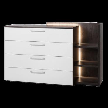 Nolte Möbel Novara Kommode mit 4 Schubkästen und Anstellregal inklusive  LED-Beleuchtung Ausführung Korpus und Oberplatte in Eiche-Nachbildung dark  ...