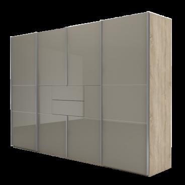 Nolte Möbel Marcato 2.4 Schwebetüren-Panoramaschrank 4-türig Ausführung 4A  mit 4 waagerechten Sprossen 2 Schubkästen und Synchronbeschlag ...
