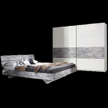 Rauch Sumatra-Extra Schlafzimmer alpinweiß mit Absetzung Vintage grau