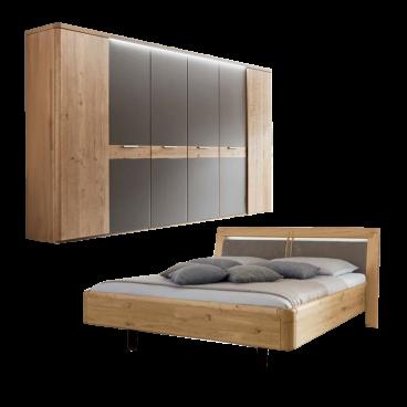 Wöstmann WSM 2000 Schlafzimmer 2-teilig bestehend aus einer Bettanlage  Liegefläche wählbar und 6-türigem Drehtürenschrank optional Kranzprofil mit  ...