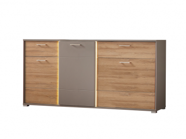 Sideboard Mit Beleuchtung | Wohn Concept Grosses Sideboard In Holzoptik Und Basalt Akzenten