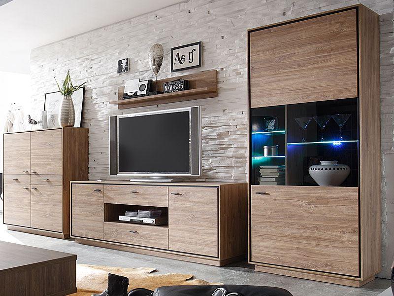 m usbacher vierteilige moderne wohnwand in dekor stirling oak mit absetztung schwarz matt. Black Bedroom Furniture Sets. Home Design Ideas