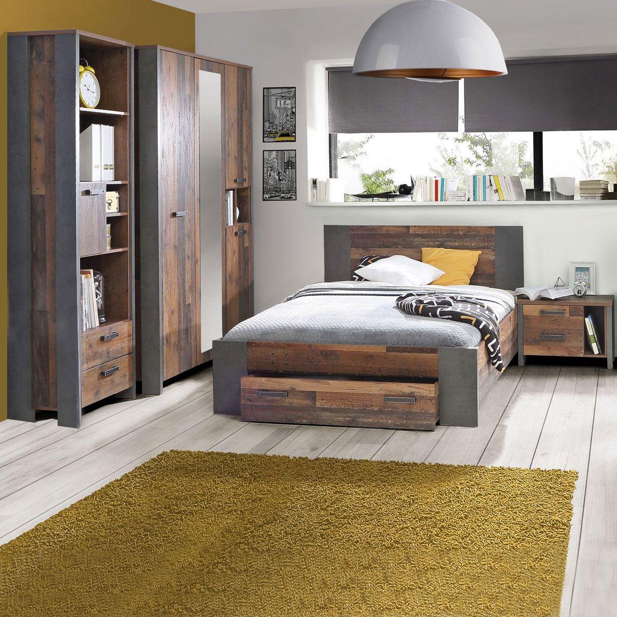 Forte clif jugendzimmer bett kleiderschrank regal nachtkommode - Kleiderschrank betonoptik ...